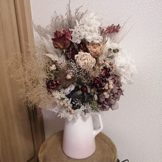 花瓶付き!人気花材で作りました♪特大アンティークドライフラワースワッグ ラクマ便(ドライフラワー)
