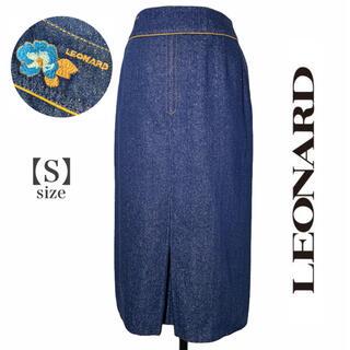 レオナール(LEONARD)の  【LEONARD】レオナール・シルク100%デニムスカート・パンジー刺繍(ひざ丈スカート)