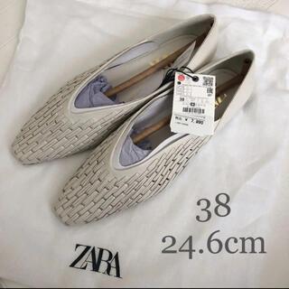 ZARA - 【新品・未使用】ZARA メッシュ フラット レザー シューズ 24.6cm