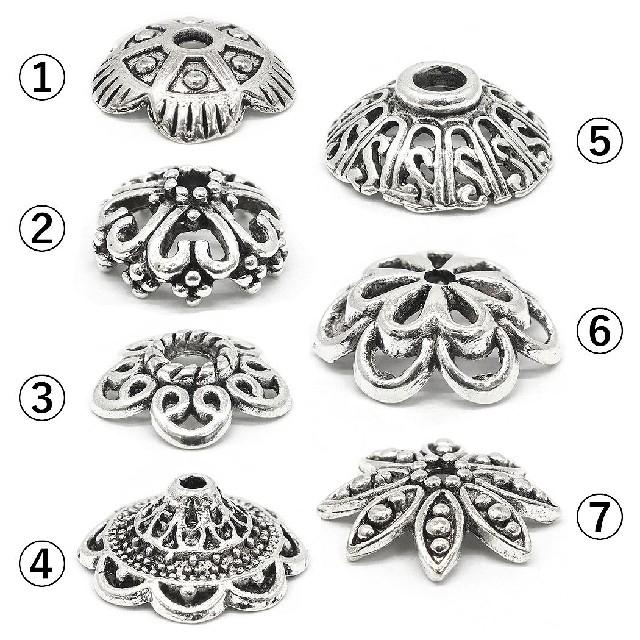 (1020) 花 座金 透かし ビーズキャップ ハンドメイド アンティーク 6個 ハンドメイドの素材/材料(各種パーツ)の商品写真