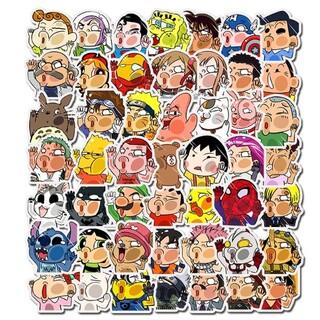 顔芸 変な顔 おもしろい ユーモア アニメキャラクター シール ステッカー50枚