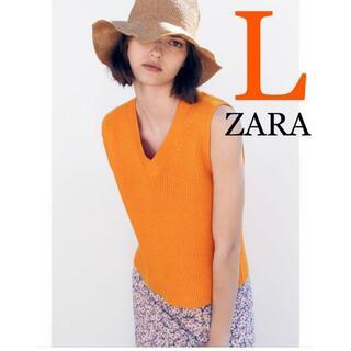 ZARA - 24 ZARA リブ編みニットベスト L
