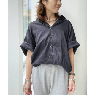 L'Appartement DEUXIEME CLASSE - アパルトモン Ramie Half Sleeve Shirt ネイビー