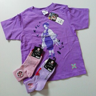 GU - 胡蝶しのぶ半袖トップスTシャツ130cm&靴下21~24cm 2足セット