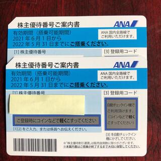 エーエヌエー(ゼンニッポンクウユ)(ANA(全日本空輸))のANA株主優待券 2枚  匿名発送(航空券)