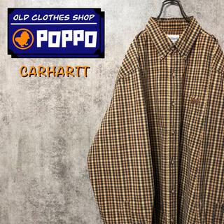 carhartt - カーハート☆レザーロゴ入りポケットワークチェックシャツ