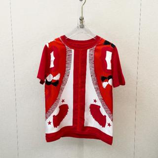 Hermes - エルメスHERMES シルク カシミア半袖 ニット セーター 赤