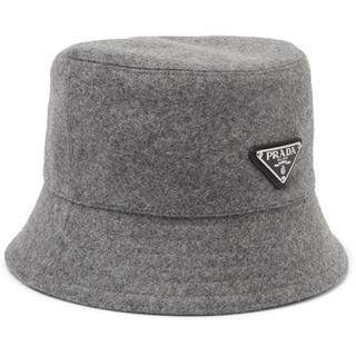 PRADA - ★ L プラダ PRADA バケットハット 帽子 ウール グレー