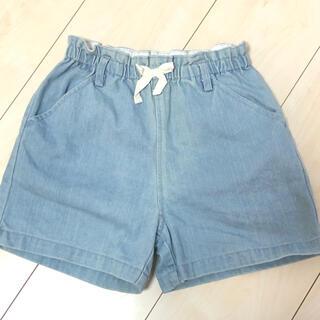 petit main - プティマイン 130 デニム ショートパンツ 半ズボン リボン