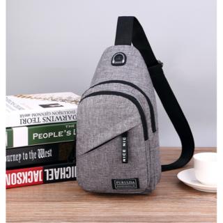 新品ボディーバッグ 軽量シンプルポケット多数 散歩用 激安 送料込 グレー(ボディーバッグ)