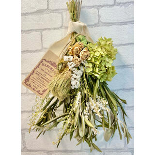 ドライフラワー スワッグ❁54 白 薔薇 アナベル 紫陽花 グリーン 花束(ドライフラワー)