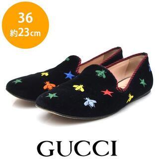 グッチ(Gucci)の美品 グッチ ベロア ビー ハチ スリッポン ローファー 36(約23cm)(スリッポン/モカシン)