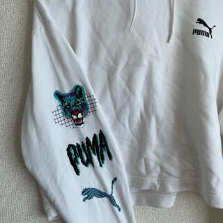 PUMA - PUMA スウェットパーカー 白 袖 デザインロゴ可愛い