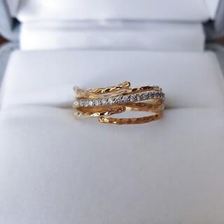 セイレーンアズーロ ラーマ ダイヤモンド リング K18YG WG 0.12ct