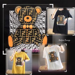 FFモノグラムロゴテディベアTシャツ♡ブラックホワイトイエロービッグシルエットT