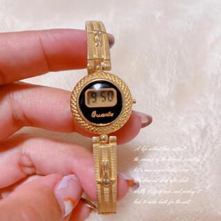 【vintage】デジタル腕時計 ゴールド×黒 ヴィンテージ レトロ 稼働品