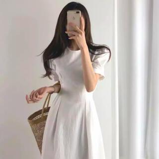 dholic - パフスリーブ リネンワンピース 韓国ファッション♡