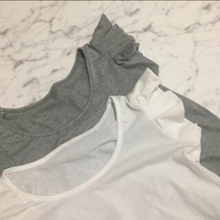 フレイアイディー(FRAY I.D)のフリルデザイン半袖トップス(グレー)(Tシャツ(半袖/袖なし))