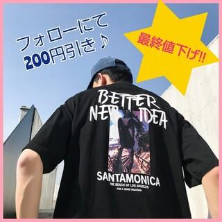 ☆メンズ☆バックプリントTシャツ☆ブラック☆0804