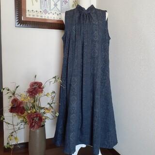 ★ 着物リメイク 手織り紬 バンドカラーのギャザーチュニックです!! ★