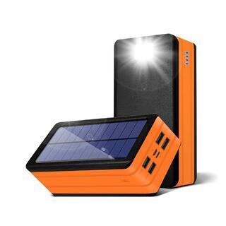 PSOOO モバイルバッテリー ソーラー 50000mAh 大容量 オレンジ
