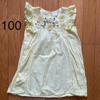 NEXT - 美品【next】100  104  3-4y 刺繍 花 黄色 ワンピース