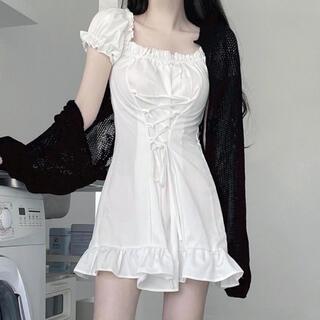STYLENANDA - 【予約商品】ワンカラー レースアップ  Aライン ミニワンピ 韓国ファッション