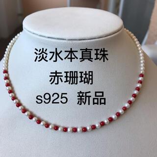 デザインネックレス 淡水真珠 本真珠 赤珊瑚 パール s925 現品限り 新品