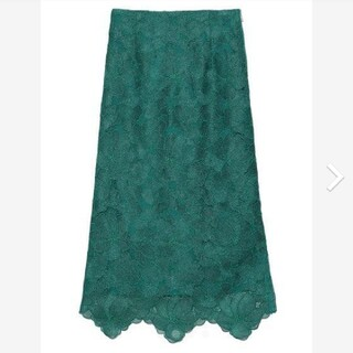 フレイアイディー(FRAY I.D)の新品タグ付 シアーラメフラワーレーススカート 緑 M FRAY I.D(ロングスカート)