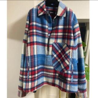 PEACEMINUSONE - we11done half zip plaid jacket blue L