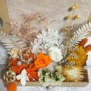 プリザーブドフラワー薔薇2輪★オレンジとホワイト 花材詰め合わせ(プリザーブドフラワー)