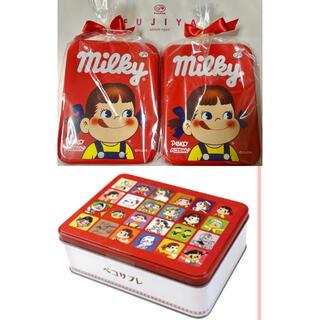 不二家  ペコちゃん サブレ缶 ミルキー缶2個(菓子/デザート)