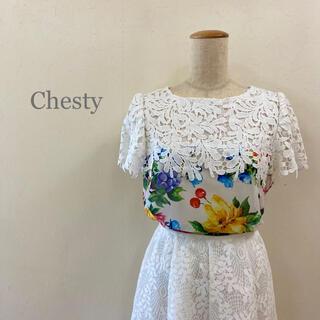 Chesty - Chesty フラワープリント 刺繍レース シアーブラウス