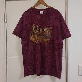 フルーツオブザルーム 総柄Tシャツ 古着 ラシュモア山 ビッグシルエット