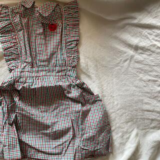セール BC チェック柄 刺繍 コットン フリルノースリーブワンピース