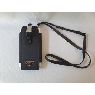 プラダ(PRADA)の【新品・未使用】PRADAトライアングルロゴReNylonスマートフォンケース黒(モバイルケース/カバー)