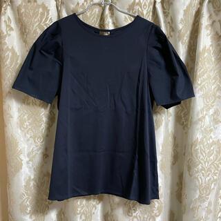 PLST - プラステ コットンパフスリーブTシャツ ネイビー