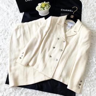 CHANEL - 美品 CHANEL シャネル COCO ツイード エレガント ホワイト スーツ
