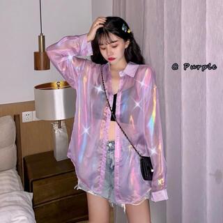 韓国デザイン♡着映えアイテム♡ オーロラカラー 光沢 シースルー シアー シャツ