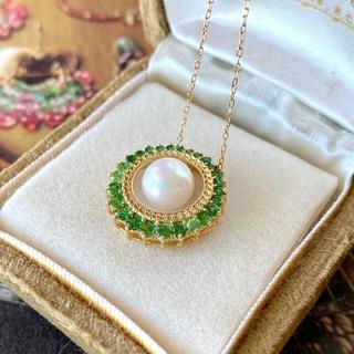 【新品 未使用品】アコヤ真珠 天然グリーンガーネット 18金 ネックレス