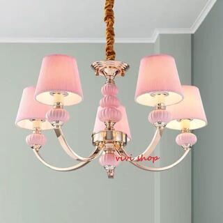 ペンダントライト シャンデリア  シーリングライト 高級天井照明 5灯 ピンク(天井照明)