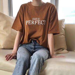 perfect 綿100% レディース 半袖 Tシャツ 韓国 アースカラー