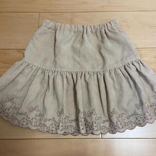 mezzo piano - メゾピアノ☆コーデュロイ リボン刺繍スカート☆女の子 130cm