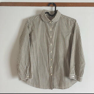 MUJI (無印良品) - 無印良品 MUJI ギンガムチェック 丸襟 7分袖シャツ
