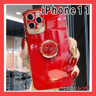 iPhone11 レッド ケース スマホ カバー リング付き F