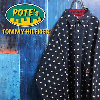 TOMMY HILFIGER - 【トミーヒルフィガー】オールド刺繍ロゴスタードット柄総柄シャツ 90s
