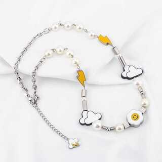 韓国 スマイルネックレス クラウド 雲 雷 ボルト パール 真珠