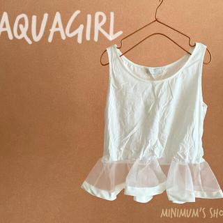 アクアガール(aquagirl)のアクアガール aquagirl タンクトップ カットソー 切替 フリル 透け感 (カットソー(半袖/袖なし))