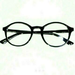 レンズ無しタイプ 新品 送料込み 丸眼鏡 デザイン 伊達メガネ ブラック 黒縁