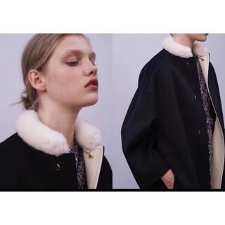 ドゥロワー(Drawer)のBLAMINK ブラミンク ノーカラー コート ミンク襟 38 黒 新品未使用(ロングコート)